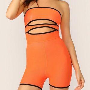 Pants - Neon orange romper